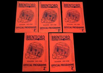 Brentford v Bolton 01.01.1938 | v Chelsea 03.03.1938 | v Liverpool 19.03.1938 | v Grimsby 02.04.1938 | v Birmingham 30.04.1938