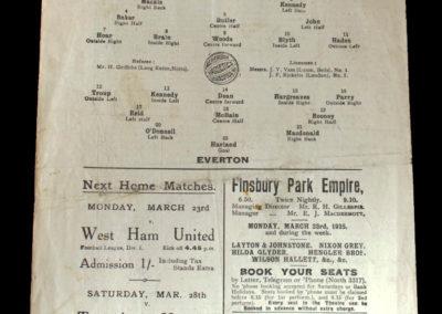 Arsenal v Everton 21.03.1925 Dixie Dean debut for Everton
