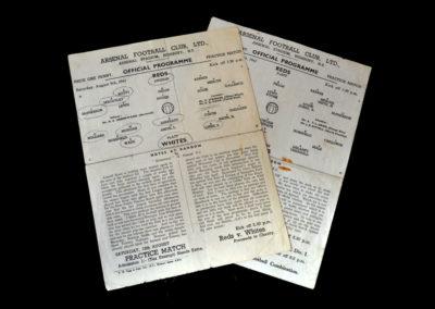 Arsenal Reds v Whites 09.08.1947   Arsenal Reds v Whites 16.08.1947