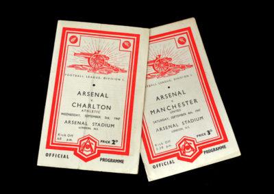 Arsenal v Charlton 03.09.1947   Arsenal v Man Utd 06.09.1947