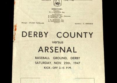 Arsenal v Derby County 29.11.1947