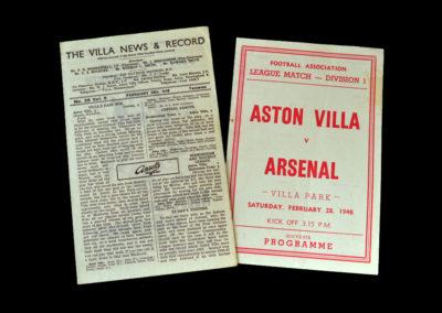 Arsenal v Aston Villa 28.02.1948