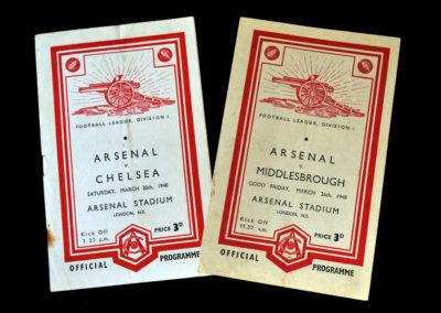 Arsenal v Chelsea 20.03.1948   Arsenal v Middlesbrough 29.03.1948