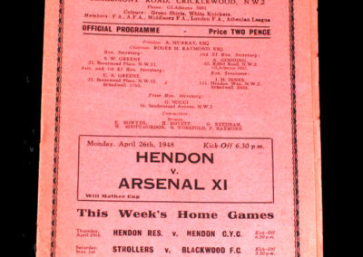 Arsenal XI v Hendon 26.04.1948