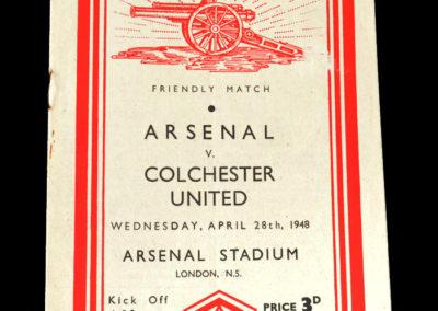 Arsenal v Colchester 28.04.1948 - Friendly