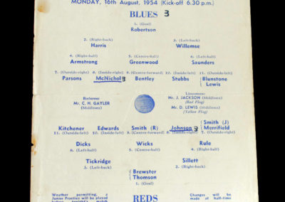 Chelsea Blues v Reds 16.08.1954 - Practice Game