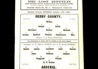 Derby v Arsenal 11.10.1930