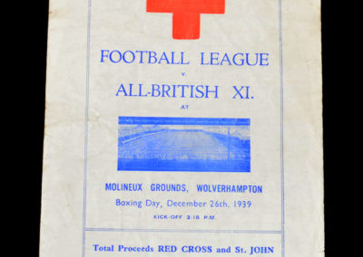 Football League v All British XI 26.12.1939 3-3. Cullis arrives late.