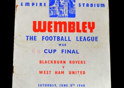War Cup Final - Blackburn v West Ham 08.06.1940 0-1