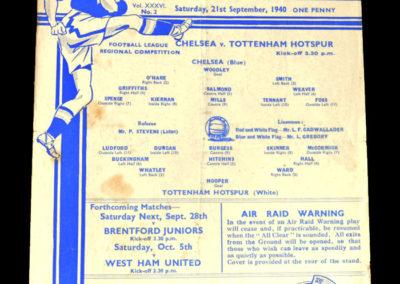 Chelsea v Spurs 21.09.1940