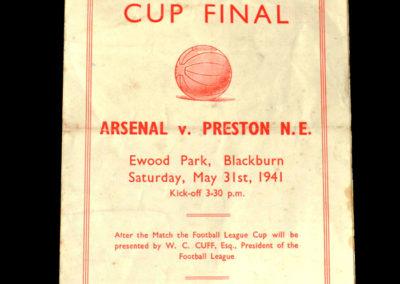War Cup Final Replay Arsenal v Preston 31.05.1941 1-2