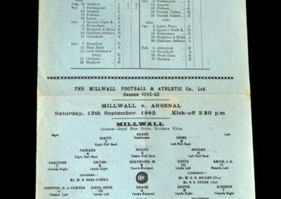 Millwall v Arsenal 12.09.1942