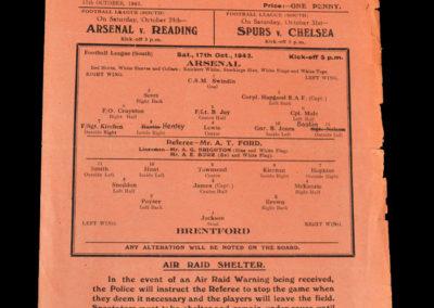 Arsenal v Brentford 17.10.1942