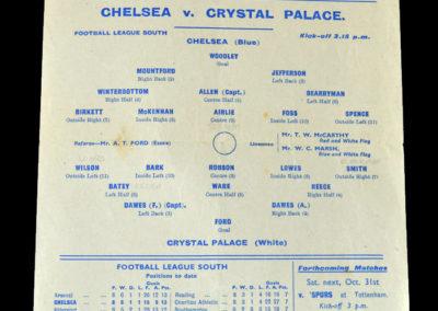Chelsea v Crystal Palace 24.10.1942