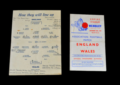England v Wales 25.09.1943 8-3 Mortensen subbed for Wales