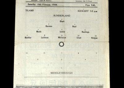 Sunderland v Middlesbrough 19.02.1944