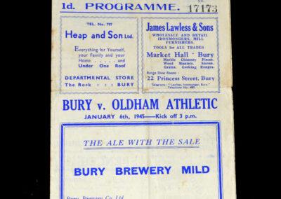 Bury v Oldham 06.01.1945