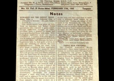 Aston Villa v Wallsall 17.02.1945 (War Cup)