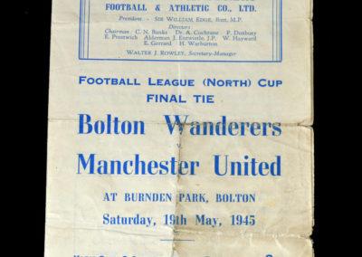 North Cup Final - Bolton v Man Utd 19.05.1945 1-0 1st Leg