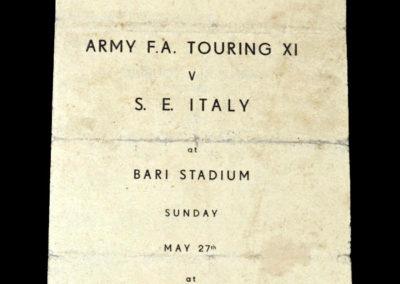 ARMY FA Touring XI v S.E Italy XI 27.05.1945 in Bari