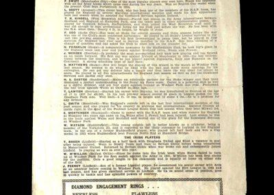 Northern Ireland v England 14.09.1945