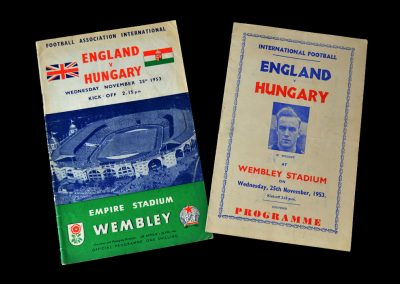 """England v Hungary 25.11.1953 - 6-3 and England's first home defeat by a """"foreign"""" team."""
