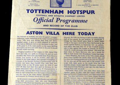 Spurs v Aston Villa 24.09.1960