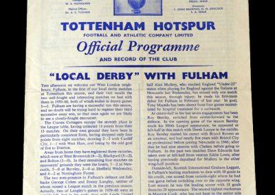 Spurs v Fulham 05.11.1960