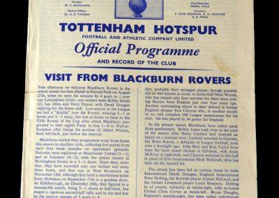 Spurs v Blackburn 31.12.1960