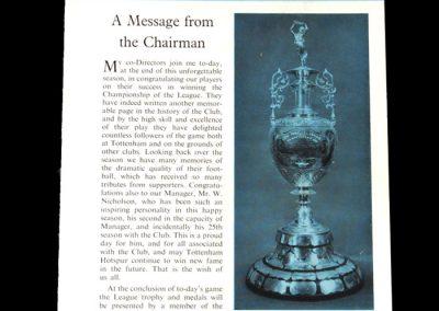 Spurs v West Brom 29.04.1961 - League Winners Souvenir Programme