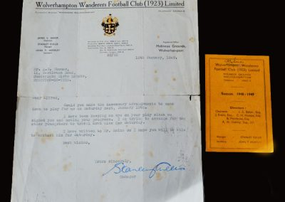 Wolves letter from Stan Cullis 10.01.1949 and fixture card