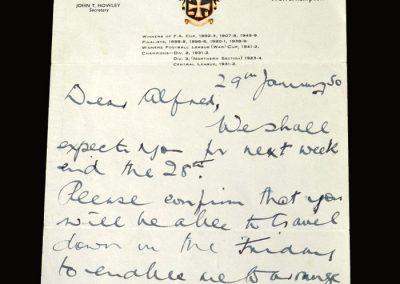 Stan Cullis letter 29.01.1950