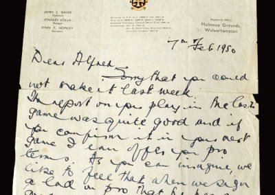 Stan Cullis letter 07.02.1950