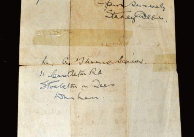 Stan Cullis letter 07.02.1950 (to my Grandad)