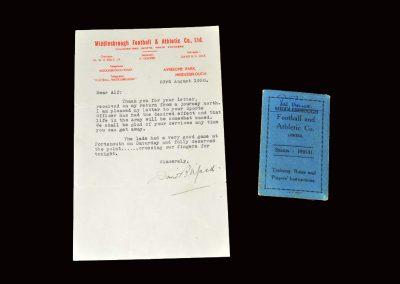David Jack letter 23.08.1950 and players pass season 50/51