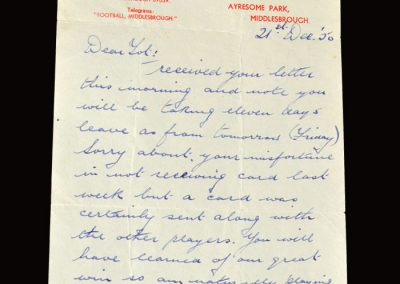 George Camsell letter 21.12.1950