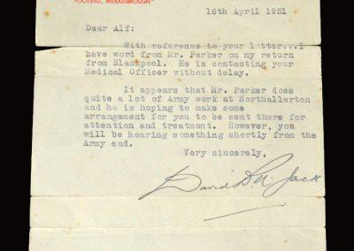 David Jack letter 16.04.1951