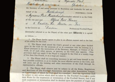 Middlesbrough contract 15.10.1952