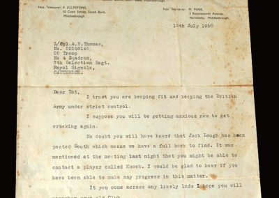 South Bank letter 18.07.1950