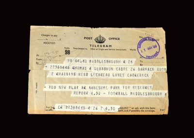 Middlesbrough Reserves v Blackhall 18.11.1950 - Telegram