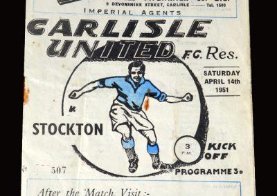 Carlisle Reserves v Stockton 14.04.1951