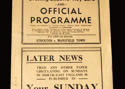 Stockton v Mansfield 24.11.1951 (FA Cup 1st Round)