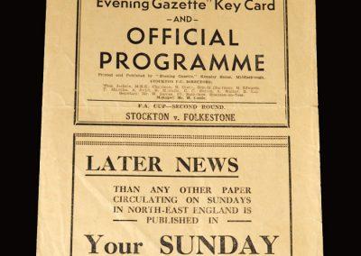 Stockton v Folkestone 15.12.1951 (FA Cup 2nd Round)