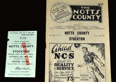 Notts County v Stockton 12.01.1952 (FA Cup 3rd Round) & Ticket