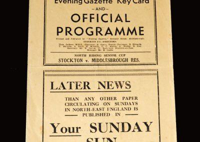 Stockton v Middlesbrough Reserves 19.01.1952 (NRSC)