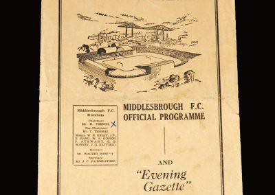 Middlesbrough Reserves v Sunderland Reserves 25.10.1952