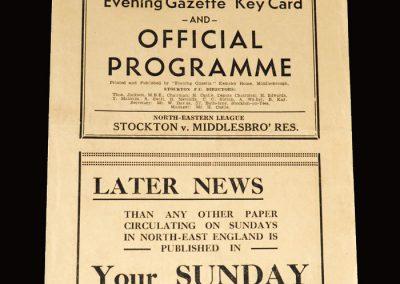 Stockton v Middlesbrough Reserves 25.12.1952