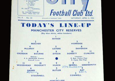 Man City Res v Sheff Wed Res 02.04.1955