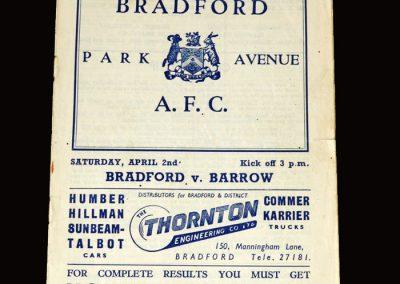 Bradford Park Avenue v Barrow 02.04.1955 3-0