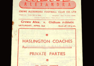 Crewe Alexandra v Oldham 02.04.1955 4-1